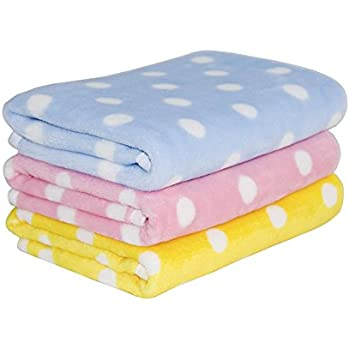 Tamu Style Fleece Dog Blanket & Soft Puppy Cat Blanket for Car,Couch,Bed & Pink, Blue and Yellow 3 Pack 3 Colors