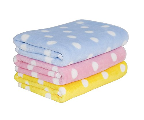 Lovely Baby Fleece Dog Blanket & Soft Puppy Cat Blanket for Car,Couch,Bed & Pink, Blue and Yellow 3 Pack 3 Colors