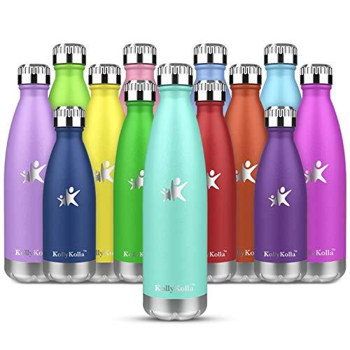 KollyKolla Botella de Agua Acero Inoxidable, Termo Sin BPA Ecologica, Botellas Termica Reutilizable Frascos Termicos para Ninos & Adultos, Deporte, Oficina, Yoga, Ciclismo, (350ml Macaron Verde)