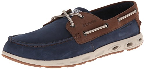 Columbia PFG Men's BONEHEAD VENT LEATHER PFG Shoe, collegiate navy, stone, 12 Regular (Blue Boat Shoes)