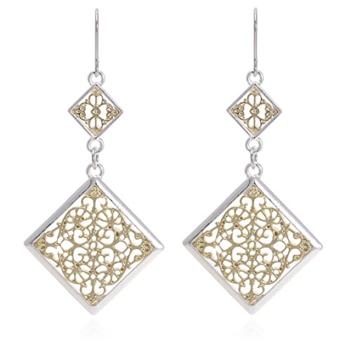 Filigree Flower Shape Earrings - Bohemian Gold & Silver Square Two Tone Shape with Floral Filigree Dangle Drop Earrings for Women
