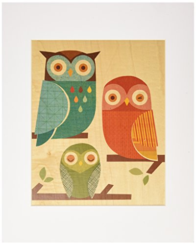 Petit Collage Unframed Print on Wood Wall Decor, Owl Trio, Large (Petit Collage Owl)