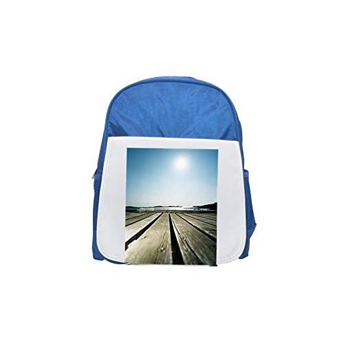 Suelo tablas de madera muelle de atraque impreso Kid 's azul mochila, para mochilas, cute small Mochilas, cute negro mochila, Cool mochila negra, moda mochilas, Gran moda mochilas, negro Fashion Bac
