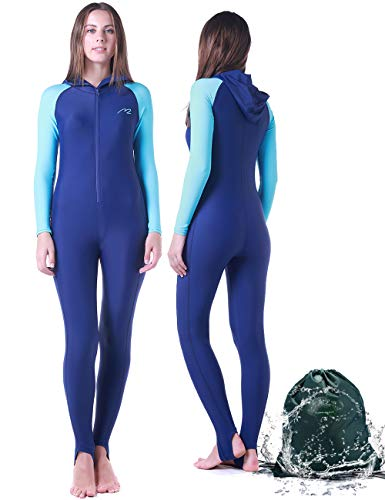(Wetsuit Full Suits for Women or Mens Modest Full Body Diving Suit & Breathable Sports Skins for Running Snorkeling Swimming (016-girl-blue, L))