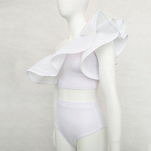 Juleya Mujer un Hombro Rizado conjunto de dos piezas de Bikini Blanco