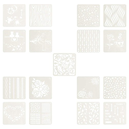 Templates Card Craft (BCP Set of 17pcs Plastic Painting Stencils Drawing Templates for Arts and Crafts Party Card Making Scrapbook Notebook Bullet Journal Painting DIY)