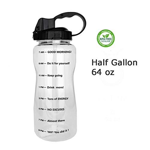 QuiFit 64oz Portable Drinking Straw Daily Water Bottle Sport Water Jug Gallon BPA Free Non Leak Design with Time Marked to Ensure You Drink Enough of Water Throughout The Day(Clear+Black)