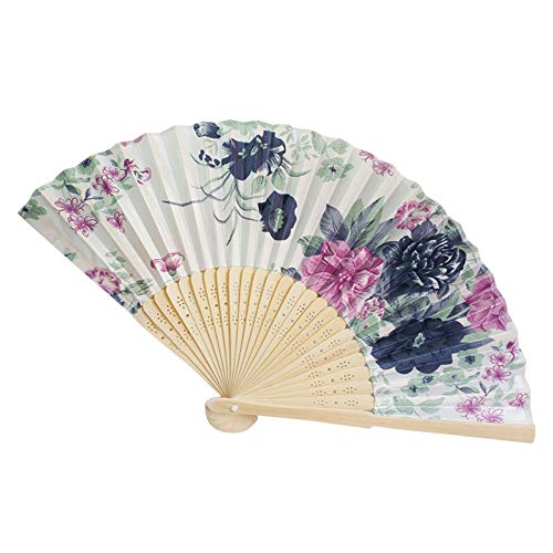 iCODOD Lady Satin Fan Vintage Fold Fan Bamboo Hand Held Flower Bamboo Fan Chinese Dance Party Pocket Gifts Oriental Handmade for DIY Wall Decoration Wedding Party Favor L