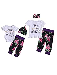 Camidy Girls Matching Outfits Little and Big Sister T-Shirt Romper Floral Pants Set