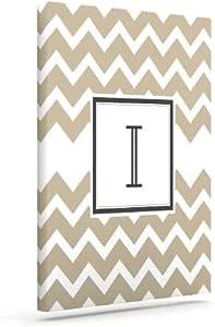 Kess InHouse Kess Original Monogram Chevron Tan Letter I Outdoor Canvas Wall Art, 10 by 12-Inch