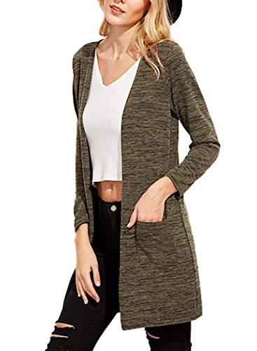 E Mywy Donna Casual Lunghezza Lunghe Cardigan Multicolore Con Media Tasche Trendy Maniche qOpzSTq
