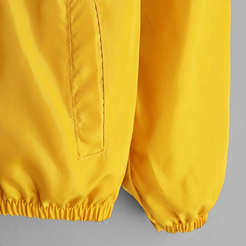 XOWRTE Jacket for Women with Zip Pockets Long Sleeve Kimono Outwear Blouse Autumn Winter Thin Sport Coat Cardigan Yellow