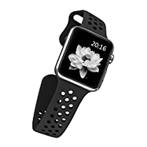 top4cus 42mm Soft Silicone Replacement Sport Strap iWatch Band for Apple Watch 42mm Edition & Sport & Apple watch NIKE Series 1 and Series 2 - Medium/Large - Nike Special Black
