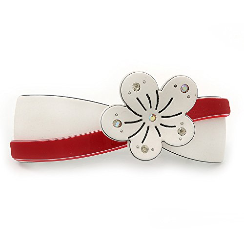 White/ Red Acrylic Crystal Flower Barrette Hair Clip Grip - 85mm Across