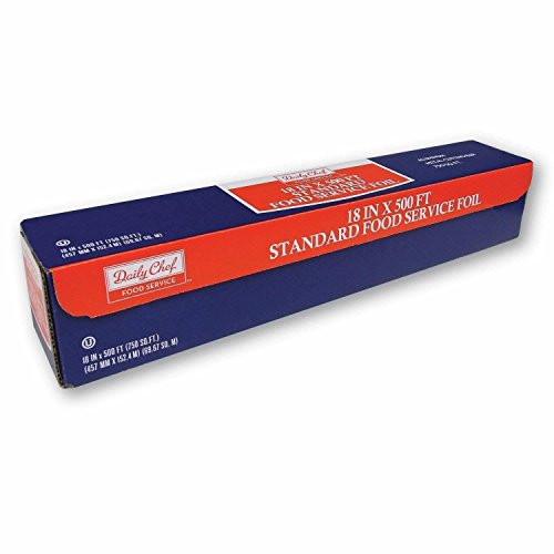 """Daily Chef Food Service Standard Aluminum Foil roll 18"""" x 500 ft (2 Pack)"""
