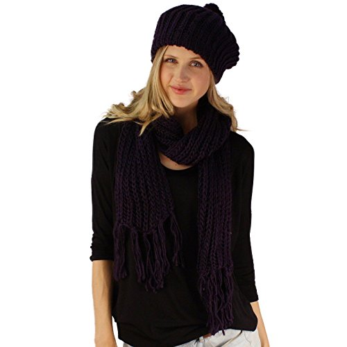 Handknit 2pc Winter Ribbed Knit Ski Beret Pom Pom Beanie Hat w Scarf Set Purple