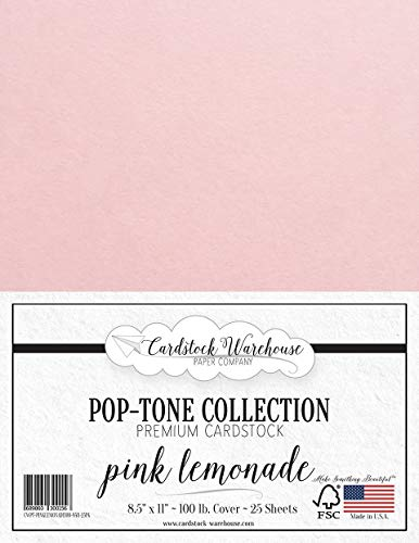 Pink Lemonade Cardstock Paper - 8.5 x 11 inch 100 lb. Heavyweight Cover -25 Sheets from Cardstock Warehouse