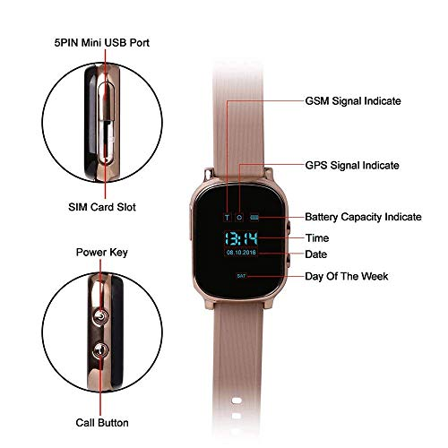 Hangang GPS Tracker For Kids Children Smart Watch Kids Wrist Watch T58 Anti-lost SOS Call Location Finder Remote Monitor Pedometer Functions Parent Control iPhone Android Smartphones APP (gold)(T58G) by Hangang (Image #5)