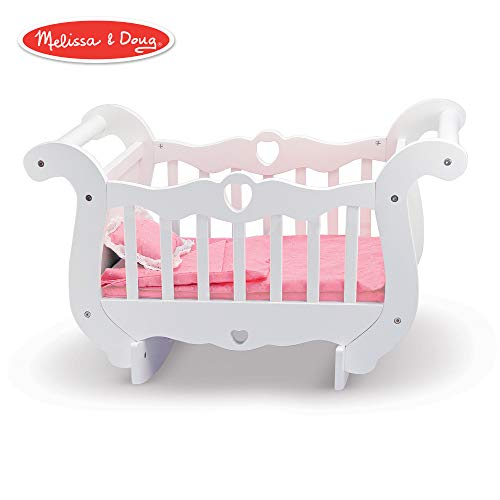 Melissa & Doug White Wooden Doll Crib With Bedding (30 x 18 x 16 -
