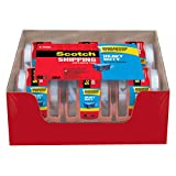 """Scotch Packing Tape Heavy Duty Shipping Tape, 1.88"""" x 20m, 6 Rolls with Hand-held Dispensers"""