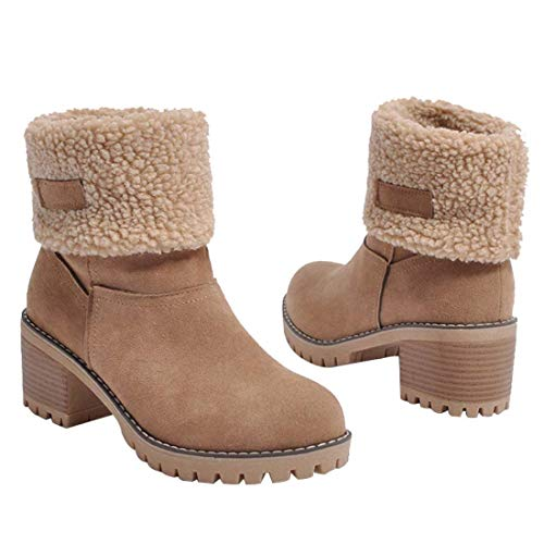Inornever Women's Winter Short Boots Round Toe Suede Chunky Low Heel Faux Fur Warm Ankle Snow Booties Light Brown 6.5 B (M) US