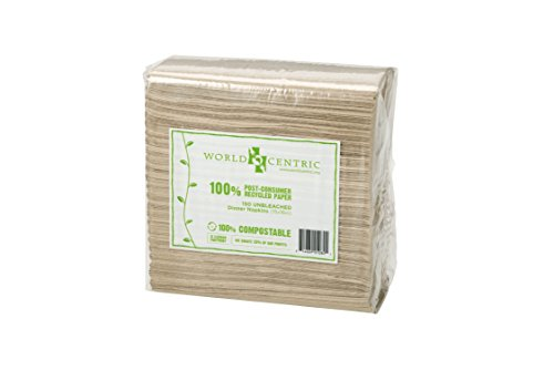 World Centric NP-SC-DN Compostable Unbleached Dinner Napkins, 100% Post Consumer Recycled Paper, 2-Ply, 15