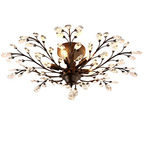 (SEOL-LIGHT Vintage Large Crystal Branches Chandeliers Black Ceiling Light Flush Mounted Fixture with 5 Light 200W Large Size)