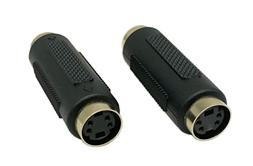 CCERRXIAN Mini Din 4 PIN Female to Female S-Video Gender Change Coupler Extension Connector Adapter for DVD DSS HDTV(sf-sf,2-Pack) -