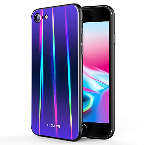 FLOVEME Laser Aurora Tempered Glass for iPhone 8 Case/iPhone 7 Case, Ultra Thin Hybrid Color Gradient Hard Back Slim Cover Soft Bumper Shockproof Protector Compatible with iPhone 8 iPhone 7, Purple