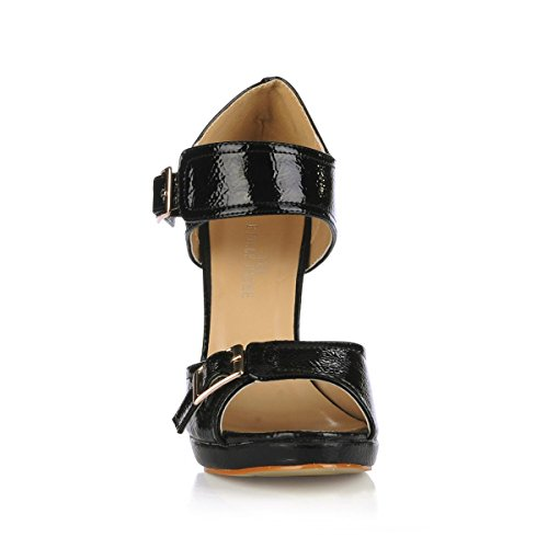 Summer Heels Leather 12CM Buckle Rubber High Metal Platform Spring Black Toe 4U 1CM Patent Women's Sandals Heel Sole Stiletto Best Peep gt14wUx8q