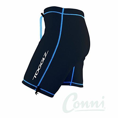 Conni Togglz Men and Women's Swim Pant, Black with Blue Trim, XXXL