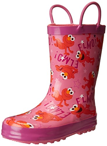 Sesame Street Girls' Kid's Character Licensed Rain Boots, Pink, Dual Shoe Size 9/10 Child US Toddler
