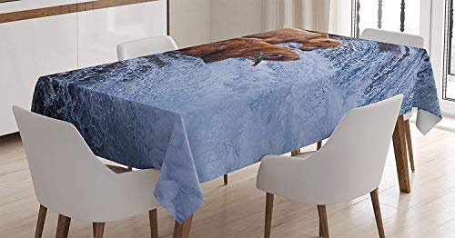 wanxinfu Wildlife Decor Square Tablecloth Grizzly Bears Fishing in River Waterfalls Cascade Alaska Nature Camp View Table Cover for Kitchen Dinning Tabletop Decoration - Cascade Foyer