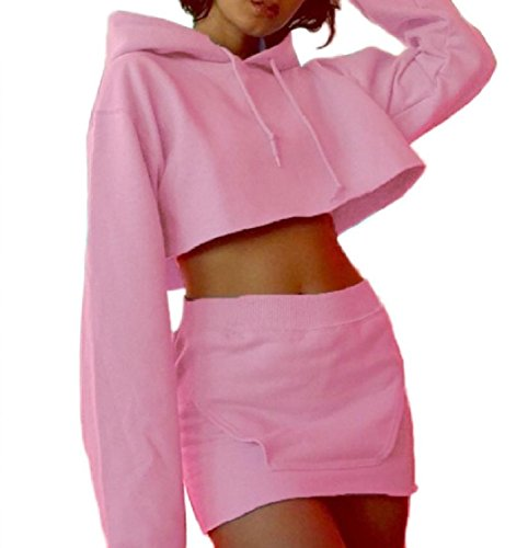 with 2 Crop Pencil Coolred Piece Hood Pink Skirt Solid Color Top Short Casual Women Dress tXnwqPwxz