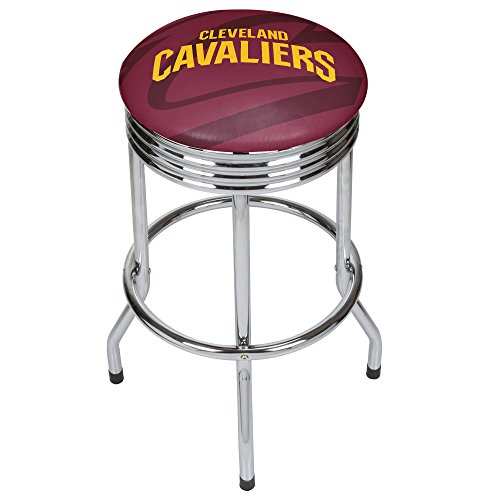 Trademark Gameroom NBA1005-CC2 NBA Chrome Ribbed Bar Stool - Fade - Cleveland Cavaliers by Trademark Global