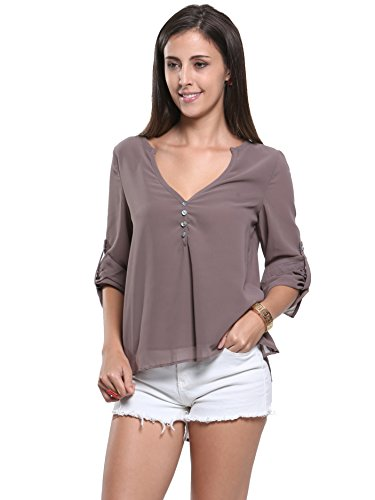 Choies Women's V-Neck Button Detail Dip Back Solid Top Blouse