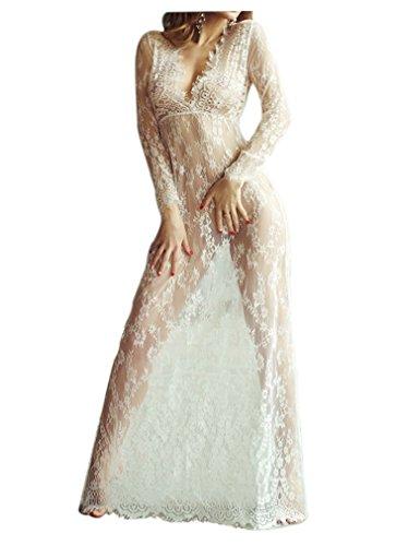 QIYUSHOW - Vestido - Manga Larga - para mujer blanco