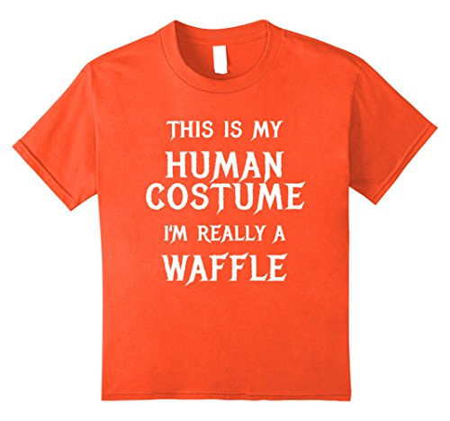 Waffle Costume Diy (Kids I'm Really a Waffle Halloween Shirt Funny Easy Costume 12 Orange)