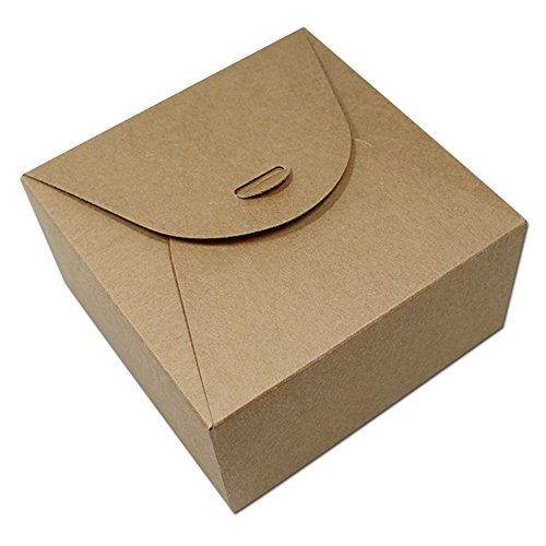 12 x 12 x 6cm Brown Kraft Paper Package Box For Candy Chocolate Baking Snack Biscuit Party Craft Paper Packing Boxes Food Storage Fold Packaging Case 10 Pcs / Lot