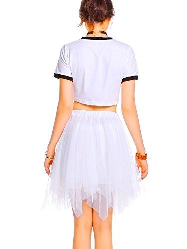 Longue Taille Femme Petticoat en Multi Elastique Blanc Vintage Tutu Couch Jupe AMORETU Asymtrique Jupon Mi Tulle H8wIxqqf