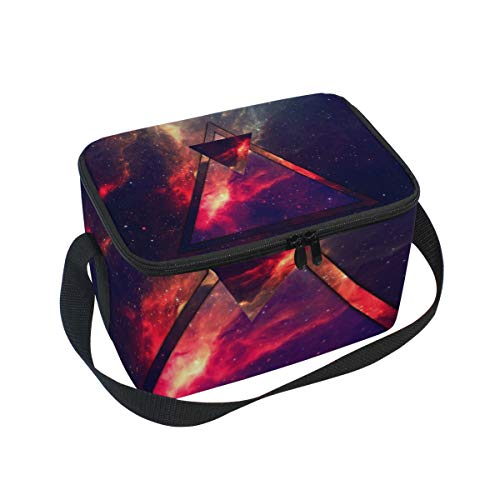 Lunch Bag Triangle Space Womens Insulated Lunch Tote Zipper Kids Lunch Box