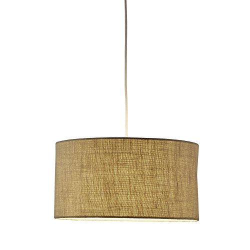Adesso 4001-18 Harvest Drum Pendant, Burlap, Smart Outlet Compatible - Harvest 1 Light Pendant