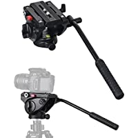 Commlite CM-FH01 Video Camera Tripod Fluid Drag Pan Head for Canon Nikon Sony Olympus Panasonic DSLR Camera,Tripods with 3/8 and 1/4 Mounting Screw