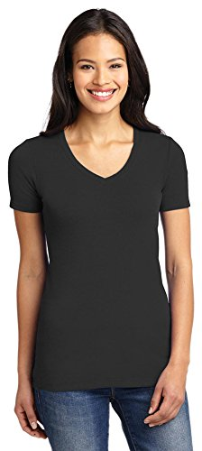 (Port Authority Ladies Concept Stretch V-Neck Tee, Black, X-Large)