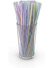 100 Pcs Flexible Plastic Straws | Striped Multi Colored BPA-Free Disposable Bendy Straw BESTDEALHK