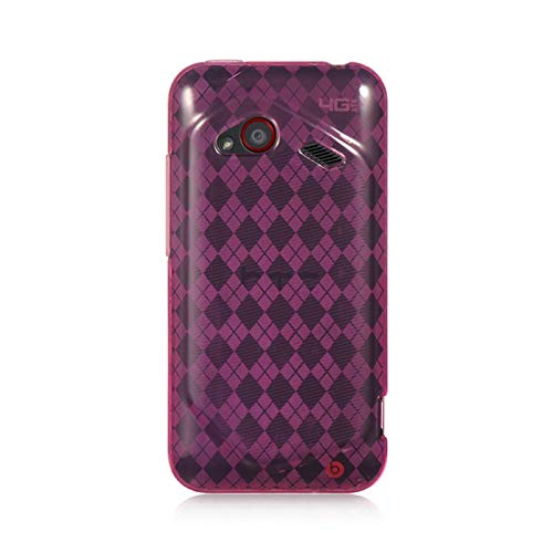 Insten Checker TPU Rubber Candy Skin Case Cover Compatible with HTC Droid Incredible (LTE Version), Hot Pink