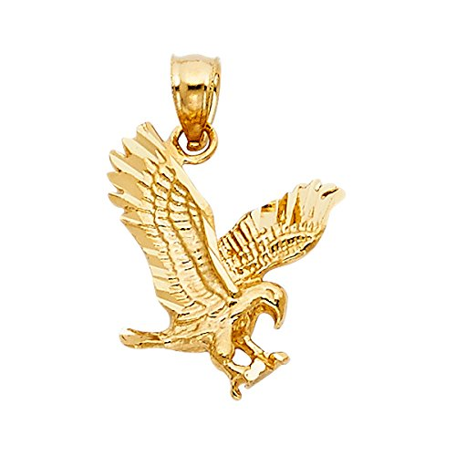 14K Yellow Gold Eagle Pendant - Height 17 MM Width 14 MM by Top Gold & Diamond Jewelry