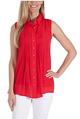 veless Blouse with Matching Detachable Camisole (X-Small, Poppy) (Embroidered Linen Crop Pants)