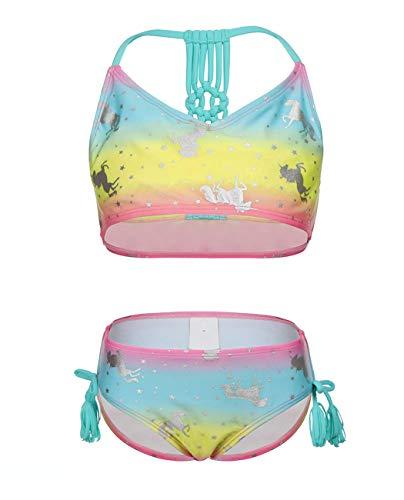 (Girls Two Piece Tankini Swimwear, Rainbow Unicorn Swimsuit Set Cute Hot Silver Bathing Suit for)