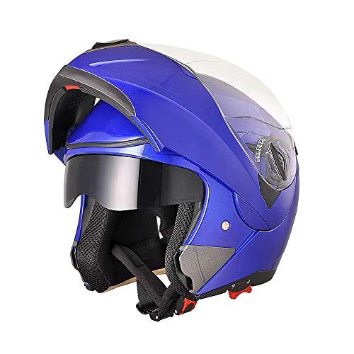 (AHR Full Face Flip up Modular Motorcycle Helmet DOT Approved Dual Visor Motocross Blue M)